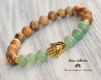 8mm Aventurine & Jasper Hamsa Beaded bracelet Mala Beads Yoga Jewelry Gemstone Bracelet Gift for her