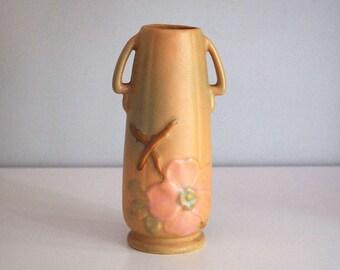 Weller Vase Wild Rose, 1930s Fine Art Ceramics, Antique Art Pottery, Pink Green Flower Vase, Cottage Chic Decor, Arts and Crafts