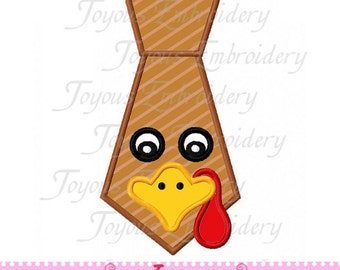 Instant Download Thanksgiving Turkey Tie Embroidery Applique Design NO:1610