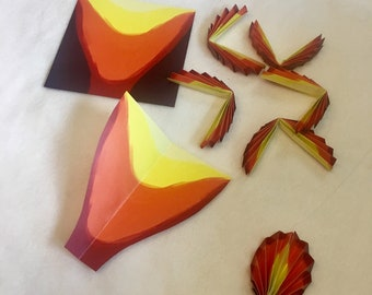 DIY origami fire flame papers