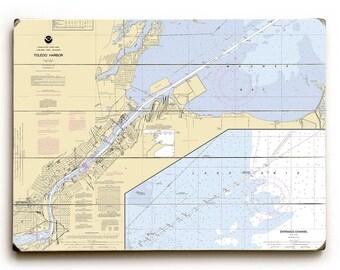 OH: Toledo Harbor, OH Nautical Chart Sign, Toledo, Ohio Map Wall Art