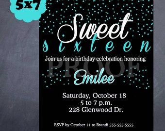 Printable Sweet 16 Birthday Invitation - 2 sizes & colors to choose from!