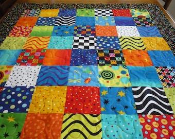 Baby Boy Quilt...patchwork quilt..baby quilt... crib quilt...baby boy bedding...boy nursery...boy designer quilt..black aqua yellow orange