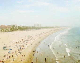 Santa Monica Beach Photography, California,Large Canvas Art, Wall Decor, Aerial Photography, Ready To Hang, Beach Canvas Wall Decor