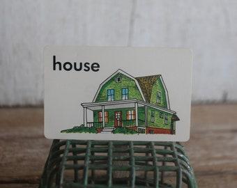 Vintage 1970s Flash Card // House