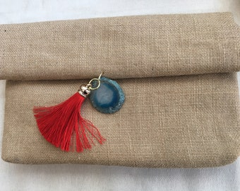 Linen clutch with agate stone and tassel