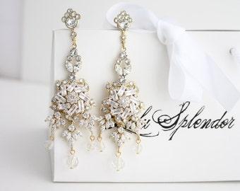 Wedding Chandelier Earrings Gold Chandelier Earrings Bridal Statement Earrings Wedding Jewelry AINSLIE