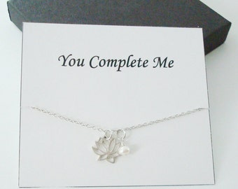 Lotus Charm with White Pearl Sterling Silver Necklace ~~Personalized Jewelry Card for Mom, Best Friend, Sister, Bridal Party, Wife, Step Mom