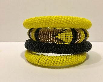 Beaded Bangles (set of 4) Yellow and Black colorway