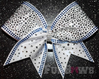Gorgeous two color  Rhinestone Allstar Cheerleading Hairbow - Tons of Bling - in your colors !