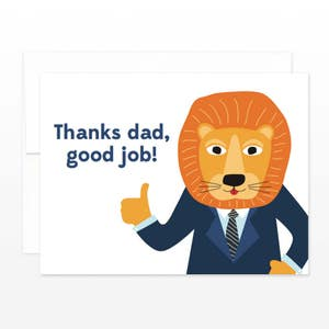 Funny Father's Day Lion Card - Thanks Dad Happy Father's Day Greeting Card, Lion in a Suit, Card for Dad, Card for Father