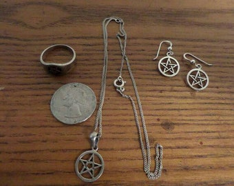 Sterling Silver Pentacle Jewelry Set