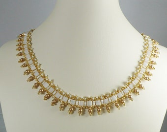Woven Tila Necklace Cream and Gold