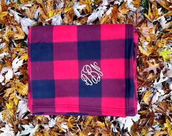 Monogrammed Buffalo Plaid Blanket | Green or Red Plaid