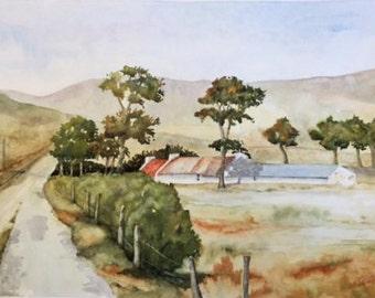 The Old Farmhouse, Irish Art, Irish Watercolour.Inishowen. Co Donegal.
