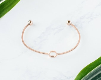 Rose Gold Hexagon Bracelet