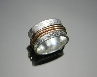 Sterling Silver Spinner Ring, Rose Gold and Silver Ring, Two Tone Ring, Worry Ring, Fidget Ring, Silver and Gold Ring
