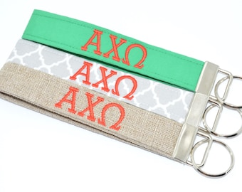 Officially Licensed Alpha Chi Omega Sorority Keychain Key Chain Fob Wristlet Greek Life Personalized Embroidered