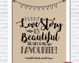 Rustic Vintage Shabby Chic Wedding A4 Print - Every Love Story is Beautiful