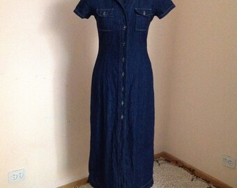 Dark Denim Ankle Length Dress Denim Maxi Dress Medium