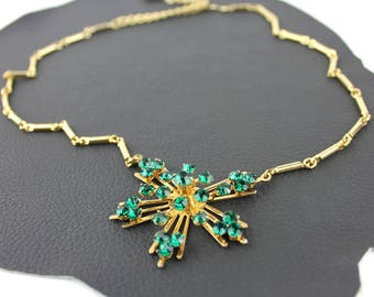 Vintage Coro Green Rhinestone & Gold Necklace