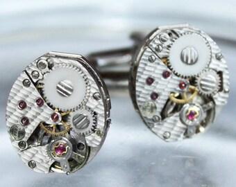 TISSOT Steampunk Cufflinks - Amazing Luxury Swiss TEXTURED Vintage Watch Silver Movement Wedding Gift Men Steampunk Cufflinks