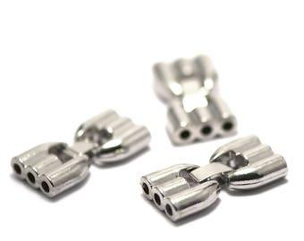 """1 clip lock """"triple strand"""" to 3mm silver strap"""