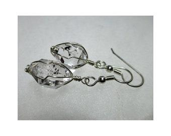 """ww1300 - 1/2""""+ Wirewrap HERKIMER DIAMOND EARRINGS - Argentium Sterling Silver"""