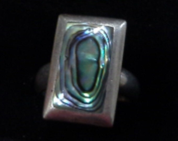 Vintage Sterling Silver 925 Modernist Ring with Paua Shell Inlay US Size 5.5