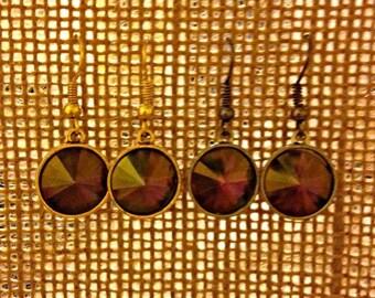 Crystal Mahogany Swarovski Earrings, Crystal Lilac Shadow Swarovski Crystal Earrings, Purple Amethyst & Citrine Swarovski Crystal Earrings