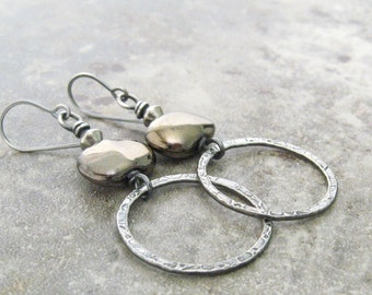 kazuri and silver earrings, silver metalwork earrings, rustic silver earrings, oxidized boho rings earrings