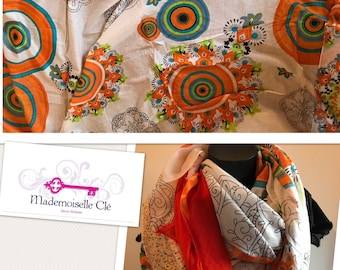 Bright colors orange and white voile scarf