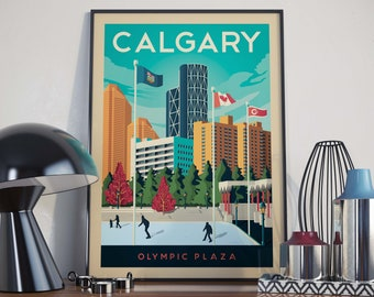 Calgary, Alberta City Illustration Print