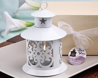 Round White Metal Lantern Favors for Country Wedding (Pack of 6)