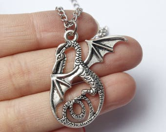 Silver Dragon Necklace, Silver Dragon Pendant Necklace, Realistic Dragon Necklace, Dragon Necklace, Fairy Tale Dragon Necklace