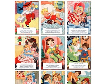 Digital   Print at Home   5x7 Mother Goose Nursery Rhyme Flash Cards Vintage Retro Style