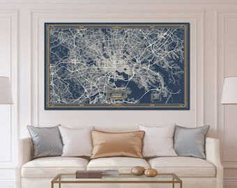 BALTIMORE Maryland map Art Deco Large Canvas print Map Horizontal Wall art canvas print ready to hang Gallery Art Deco Map Style