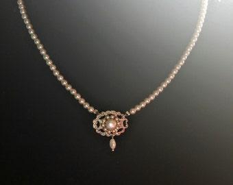 Bridal Pearl Necklace Silver Necklace Vintage Swarovski Crystal Rhinestone Bride Necklace Vintage Necklace Ivory Pearls Freshwater Pearl