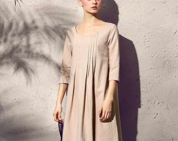 Tunic with long sleeves - Flared tunic - Round neck - Dress Autumn / Winter - Short linen dress - Made to order