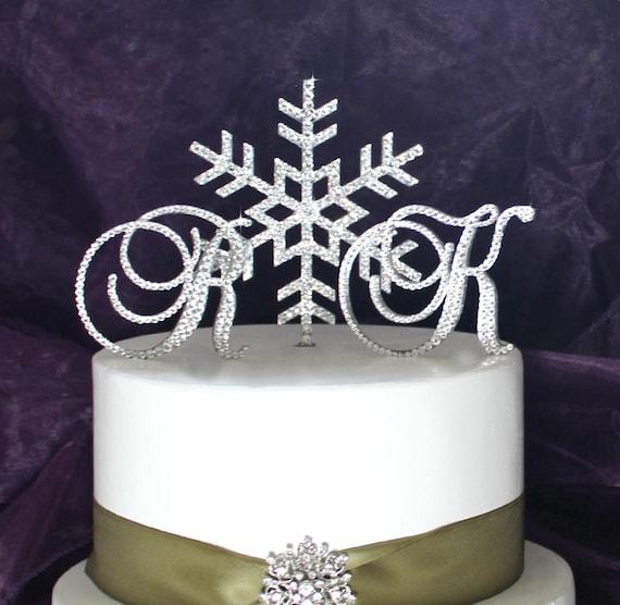 Snowflake Cake Toppers Monogram Winter Wonderland Cake