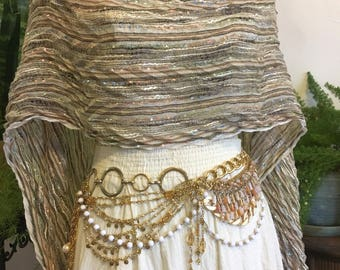 Gypsy Belt // Gold Chain Belt // Handmade Belt // Upcycle // Gold Metal Belt // Bib Belt // Charm Belt // Burning man