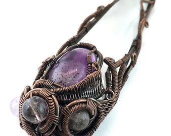 Selenite pendant with Brandenberg Quartz Auralite 23, Super 7 and Amazez, wire wrapped in copper. Infinite Possibilities for Healing