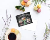 Happy Birthday Treats Cards - Boxed Set of 8 - Chalkboard Art - Celebrate Card -Happy Birthday- Illustration by Valerie McKeehan