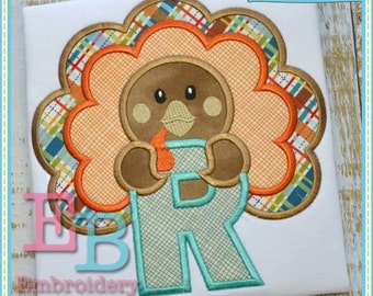 Boy Turkey Applique Alphabet - This design is to be used on an embroidery machine. Instant Download 5x7,9x9,6x10