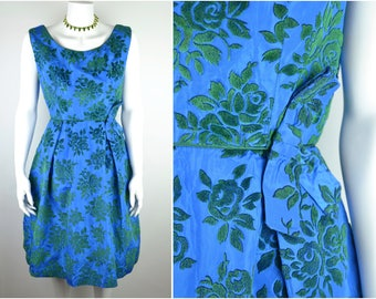 "50s flocked taffeta cocktail dress by Blanes B38"" W27"" 