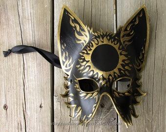 Wolf Mask, Leather, Half Mystic Sun, Fox mask,  Animal mask, Mardi Gras, LARP costume,  Halloween Mask, Cosplay, Fantasy mask