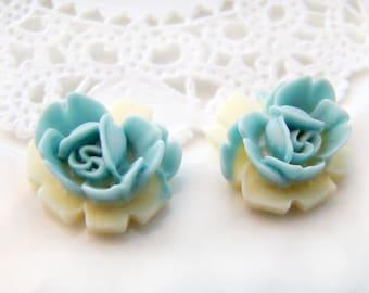 Rose Flower Cabochon Pastel Blue & Ivory White  Resin Floral Rose Flower Cabochon  - 6