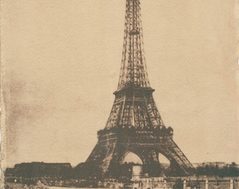 Eiffeltower - river Seine. Tea toned cyanotype