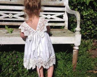 LouLou Flower Girl Dress - Boho Flower Girl, Holy Communion, Special Occasion Dress, Cotton Lace