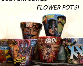 CUSTOM 4in Comic book Flower pots